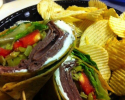 Pepperoncini, strawberries, roast beef, with a savory cream cheese spread make this the boss of wraps.