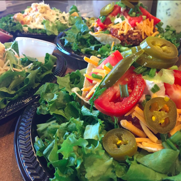 Salads, always delicious, are made with fresh, loose leaf lettuce.